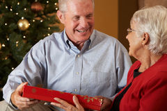 Couples aînés permutant des cadeaux Photo libre de droits