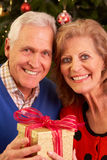 Couples aînés permutant des cadeaux de Noël Photographie stock libre de droits