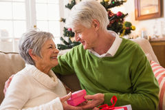 Couples aînés permutant des cadeaux de Noël Images libres de droits