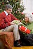 Couples aînés permutant des cadeaux par l'arbre de Noël Image stock