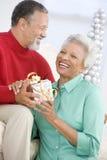 Couples aînés permutant un cadeau de Noël Photos stock