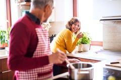 Couples aînés préparant la nourriture dans la cuisine Photo libre de droits