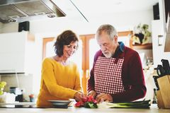 Couples aînés préparant la nourriture dans la cuisine Image stock
