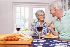 Couples aînés prenant le déjeuner ensemble Image libre de droits