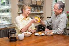 Couples aînés prenant le petit déjeuner ensemble Image libre de droits