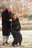 Couples aînés se reposant sur l'oscillation de jardin Photo stock