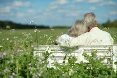 Couples aînés se reposant sur le banc Photographie stock