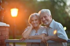 Couples aînés se reposant sur le banc Image stock