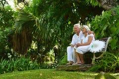 Couples aînés se reposant sur le banc Photos libres de droits