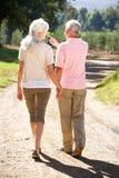 Couples aînés sur la promenade de pays Images stock