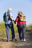 Couples aînés sur la promenade de pays image libre de droits