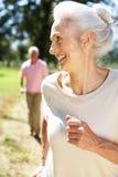 Couples aînés sur le passage de pays Photos libres de droits