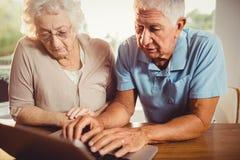 Couples aînés utilisant l'ordinateur portatif Images libres de droits