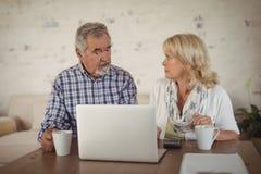 Couples aînés utilisant l'ordinateur portatif Photos libres de droits