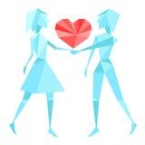 Couples abstraits de polygone tenant des mains Images libres de droits