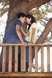 Couples adolescents dans la cabane dans un arbre Image stock