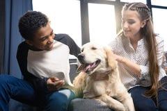 Couples adolescents heureux ayant l'amusement avec le chien de golden retriever à l'intérieur Photographie stock libre de droits