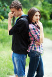 Couples adolescents tristes Photo libre de droits
