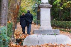 Couples adultes dans l'amour marchant en parc Image libre de droits