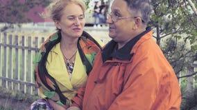 Couples adultes dans l'amour se reposant sur un banc de parc, se tenant mains du ` s, riant 4k, 3840x2160 HD banque de vidéos