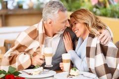 Couples adultes gentils se reposant dans le café Image stock