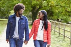 Couples adultes noirs, ami, promenade d'amie tenant des mains dans la campagne, fin  photographie stock libre de droits