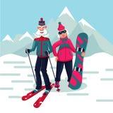 Couples adultes supérieurs sur une station de sports d'hiver Personnages de dessin animé illustration stock