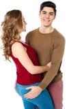 Couples affectueux d'amour au-dessus de blanc Photographie stock libre de droits
