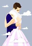 Couples affectueux dans le ciel Photo libre de droits