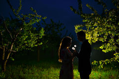 Couples affectueux dans le jardin de floraison Image stock