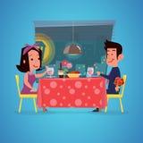 Couples affectueux dans le restaurant Dîner romantique Conception de personnages Images libres de droits