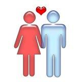 Couples affectueux de BTW de coeur Images stock