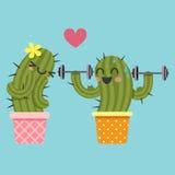 Couples affectueux de cactus avec l'haltère illustration de vecteur