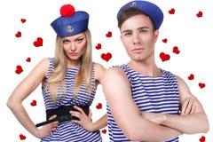 Couples affectueux de marin Photos stock