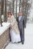 Couples affectueux de nouveaux mariés marchant en stationnement de l'hiver Photographie stock