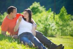 Couples affectueux embrassant au pique-nique Image libre de droits