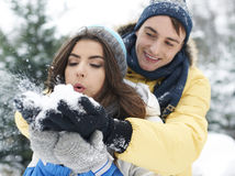Couples affectueux en hiver Photo stock