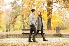 Couples affectueux en parc d'automne Photographie stock
