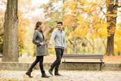Couples affectueux en parc d'automne Image libre de droits