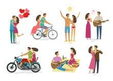 Couples affectueux, ensemble d'icônes Famille, concept d'amour Illustration de vecteur de dessin animé illustration de vecteur
