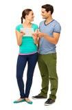 Couples affectueux heureux utilisant le PC de Tablette Image stock