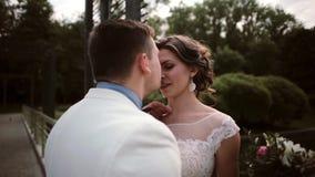 Couples affectueux leur jour du mariage dans l'été, embrassant et regardant tendrement l'un l'autre Mariée et marié heureux clips vidéos