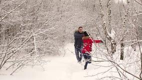 Couples affectueux marchant en parc et sourire d'hiver clips vidéos