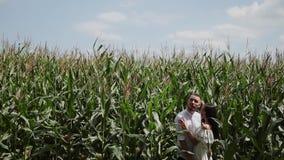 Couples affectueux se tenant dans un domaine de maïs étreignant et embrassant banque de vidéos