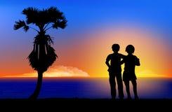 Couples affectueux silhouettés Images libres de droits