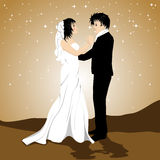 Couples affectueux sur le fond d'étoile de scintillement Photos stock