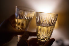 Couples affectueux tenant des verres de vin Image libre de droits