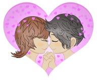 Couples aimants dans le cadre de coeur Jour heureux du `s de Valentine Homme et femme aimants touchant des nez dehors Profil de n illustration de vecteur