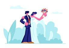 Couples aimants de jeunes heureux de nouveaux mariés de jeune mariée dans la robe blanche avec le bouquet et le marié dans le mar illustration stock