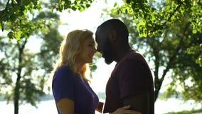 Couples aimants de métis regardant l'un l'autre et poussant du nez, sentiments tendres banque de vidéos